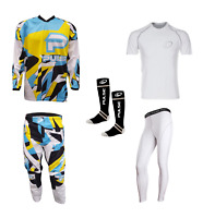 PULSE STORM YELLOW & BLUE MOTOCROSS MX ENDURO BMX MTB KIT + BASE LAYERS & SOCKS