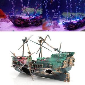 Large Aquarium Decoration Boat Aquarium Ship Air Split Shipwreck Fish Tank De QW