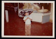 Vintage Photograph Cute Little Boy Wearing Huge Mexican Sombrero