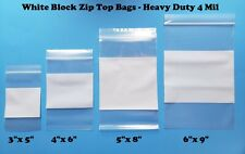 4Mil Whiteblock Heavy-duty White Block Zipper Bags Marker Writable Reclosable