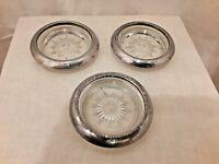 Vintage Leonard Crystal Glass & Silver Plate Coaster/Ashtray Set of 3 Italy
