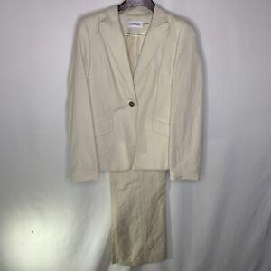 Calvin Klein Womens Ivory button front Pant Suit Size 8 Jacket 4 pants Petite