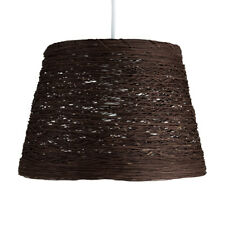 Modern Brown Wicker Twine Rattan Style Basket Ceiling Pendant Light Lamp Shade