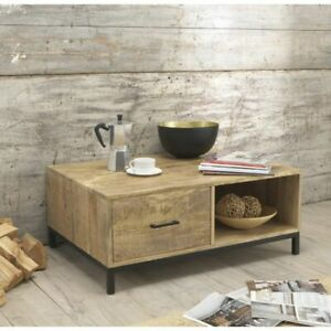 Cove Reclaimed Wood Indian Furniture Storage Coffee Table With Drawer