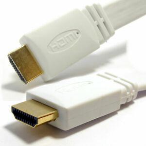 3M Blanc HDMI Plat Haute Vitesse Câble Pour 3D TV 1.4 Câble Or