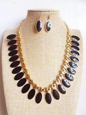 Vintage style Black Oval Pendant Gold Plated Enamel Necklace Earrings set