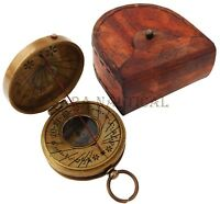 Vintage Antique Brass Sundial Compass Dollond London with Marine Leather Case