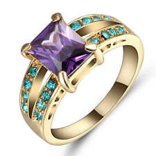 Size 8 Purple Amethyst&blue Engagement Ring 18K Yellow Gold Filled Wedding Band