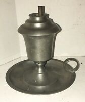 ANTIQUE AMERICAN PEWTER WHALE OIL LAMP DOUBLE WICK ALL ORIGINAL CIRCA 1850