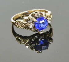 Ladies Antique 9kt yellow gold Diamond Chip Blue Sapphire Estate Ring