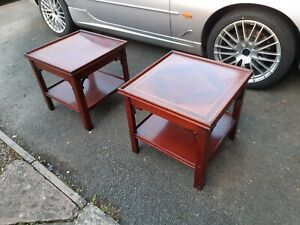 PAIR OF CHARLES BARR HARRODS MAHOGANY INLAID VEENERED COFFEE TABLES.