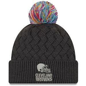 Cleveland Browns New Era Women's 2019 NFL Crucial Catch Cuffed Pom Knit Hat