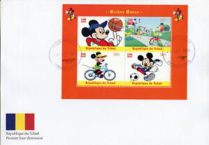 Chad 2018 FDC Mickey Mouse Disney Football 4v M/S Cover Cartoons Stamps