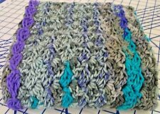 Baby Swaddling Blanket Gray teal & Purple New Handmade crocheted