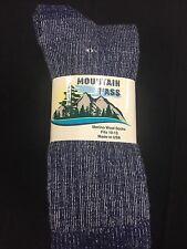 3 Pair of Mountain Pass 72% Merino Wool Heather Blue Socks Large 9-12 shoe