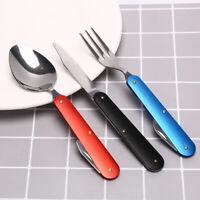 3pcs/set Folding Stainless Steel Knife Spoon Fork Utensils Camping TablewareEF