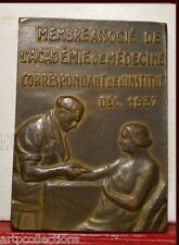 1937 RARE MÉDAILLE BRONZE PLAQUETTE PROFESSEUR MEDECINE