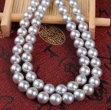 "35"" Top AAAA Natural South Sea Cultured Gray Pearl 10-11mm,14K Gold Necklace"