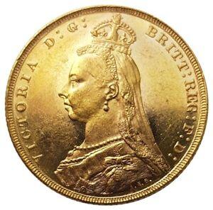 1891-M Queen Victoria Jubilee Head Gold Sovereign (Melbourne) AUNC
