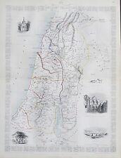 c1854 ANCIENT PALESTINE ISRAEL Genuine Antique Map by Rapkin FREE POST WORLDWIDE