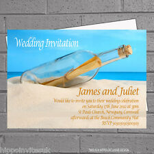 Message in Bottle Beach Wedding Evening Day Reception Invitations x 12 H0339
