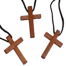 12 WOODEN CROSS Necklaces - Wood Crucifix Religious -New Wholesale Lot FREE SHIP