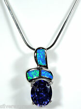 """925 Sterling Silver 18"""" Necklace with 2.5 Cts Tanzanite & Blue Fire Opal Inlay"""
