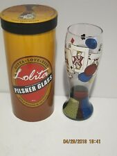 LOLITA POKER HAND PAINTED PILSNER GLASS W/RECIPE NEW IN ORIGINAL PACKAGE F/SHIP!