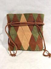 Handbag, Handmade, Deerskin, Tri-Color Diamond Pattern, Early 1970s