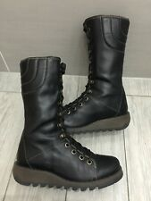 LADIES BLACK LEATHER FLY LONDON STER MID CALF QUILTED BIKER BOOTS, UK 4/37