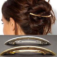 KQ_ KM_ KF_ Women Metal Gold Silver Plated Plain Tube Large Hair Clip Grip Barre