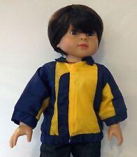 Navy/Yellow Nylon Jacket Fits 18 inch American Girl Boy Dolls Logan