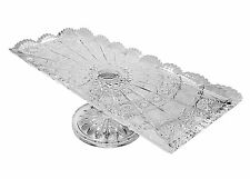 "Bohemia Crystal Footed Plate, 16""L Rectangular Serving Fruit Appetizers Platter"
