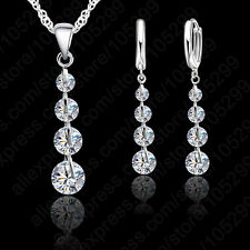 925 Sterling Silver CLEAR CZ Crystal Drop Earrings Chain Necklace Jewelry Set UK
