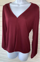 J. Crew Burgundy Merlot Drapey Ribbed V-Neck Top Sz SMALL AG068 EUC