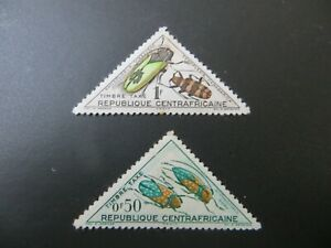 Central African Rep. Beetles Insects Triangle Stamps x2