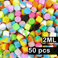 50 Pack 2ml Silicone Containers 2 ml Mixed Colors Nonstick Jars Wholesale Lot