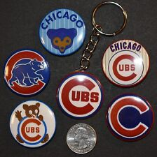 """Set of 5 1 1/2"""" Pinback Buttons CHICAGO CUBS plus Key Chain Retro Keychain Set A"""
