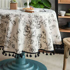 Cotton Linen Round Tablecloth Bohemia Printed Tassel Dining Kitchen Table Cloth