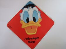 Disney Donald Duck Laminated Car Window Sign Vintage