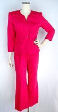 OSCAR by OSCAR DE LA RENTA Pant Suit SIZE 6 Raspberry Pink Embroidered Jacket