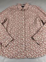 Lands End 16 XL Floral Top Shirt Button No Iron Pinpoint Oxford Long Sleeve