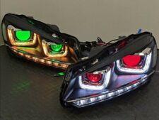 VW Golf MK6 Custom Headlights RGBW LED Ubars, Sequential Indicators & DemonEyes