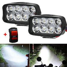 2Packs Eight LED Motorcycle Motorbike Headlight Fog Spot Lights Bulb & Switch