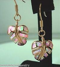 14mm Hawaiian 14k Rose Gold Over Silver Inlaid Pink Opal Monstera Hook Earrings