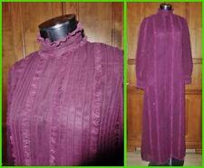 Vtg 70s ANTHONY MUTO Sheer Chiffon Burgundy Lace Boho Evening Runway Maxi DRESS