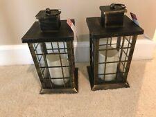 Brushed Gold Decorative Lanterns w/LED Candle, set of 2 free shipping