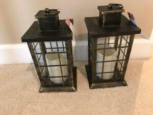 Brushed Gold Decorative Lanterns w/LED Candles, set of 2, free shipping