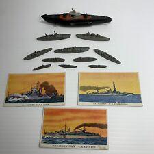Vintage Tootsie Toy Submarine Lot Of 10 Metal, 1 Cast On Wheels & 3 Cards Rare