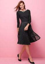 NWT TALBOTS WOMEN'S LACE PLEAT 3/4 SLEEVE BLACK PARTY HOLIDAY DRESS SIZE 10($190